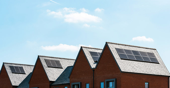 Solar panels on a row of houses