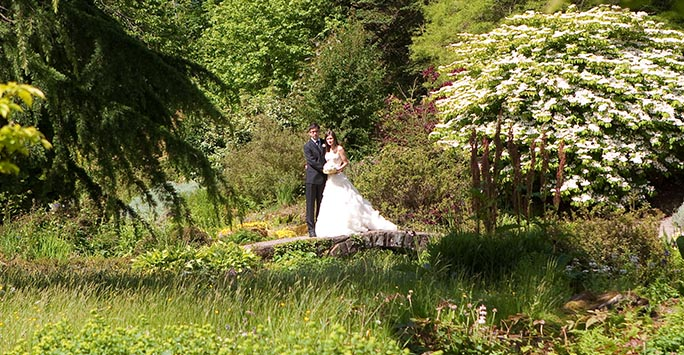 A bride and groom standing in the gardens at Ness Botanic Gardens.