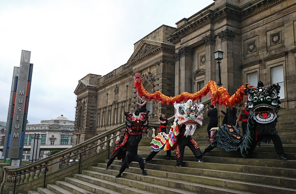 Liverpool School of Cantonese Kung Fu prepare for Chinese New Year outside World Museum