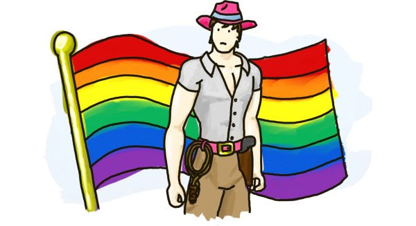 Illustration of explorer with rainbow flag