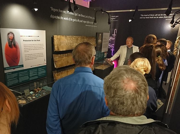 Dr Roland Enmarch takes visitors through the Underworld on LightNight, at the Book of the Dead exhibition in the Garstang Museum.