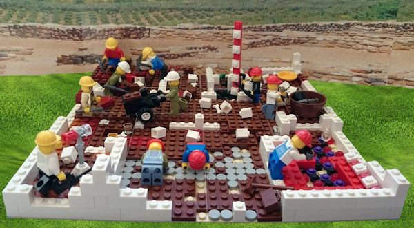 LEGO figures on an archaeological dig