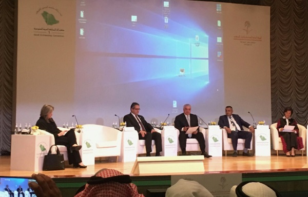 The session with the ministers of Antiquities of Palestine, Egypt, Zawi Hawass – the Chair, the Yemen minister, and Jordan minister, looking from left to right.