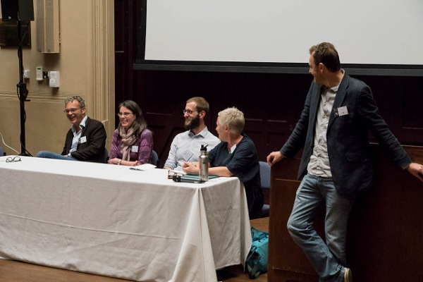 The panel – Ian Barnes, Camilla Speller, David Ashmore, Jacqui Mulville, and Mark Thomas.