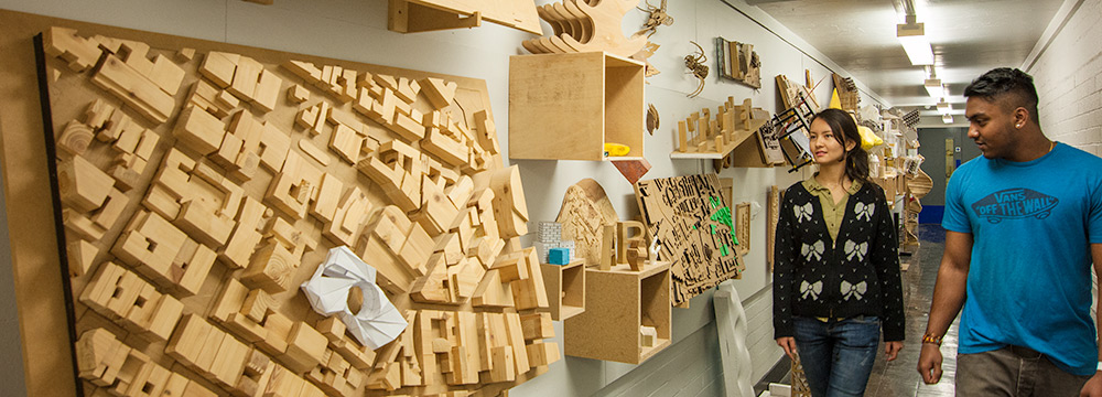 Examples of model work exhibited outside the model making workshop‌