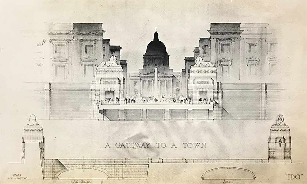 Preliminary and final drawings for the Rome Scholarship 1920s. Drawing by Thelma Silcock, UoL Archive