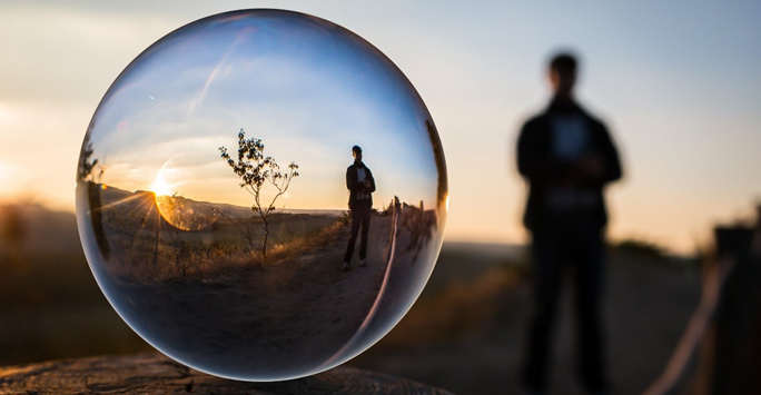 Bubble Reflection of Man and Tree