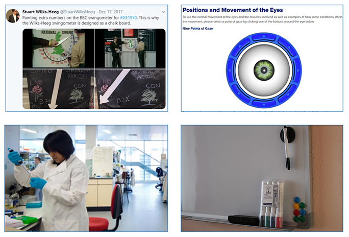 Four Teaching Props - Swingometer, Eye Animation, Chemistry Laboratory and a Whiteboard with Marker Pens