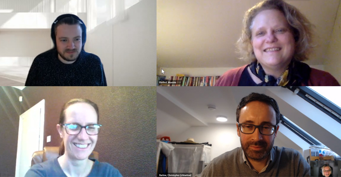 Host and Four Guests in Online Meeting