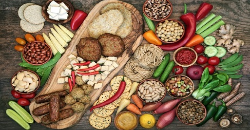 A selection of vegan foods