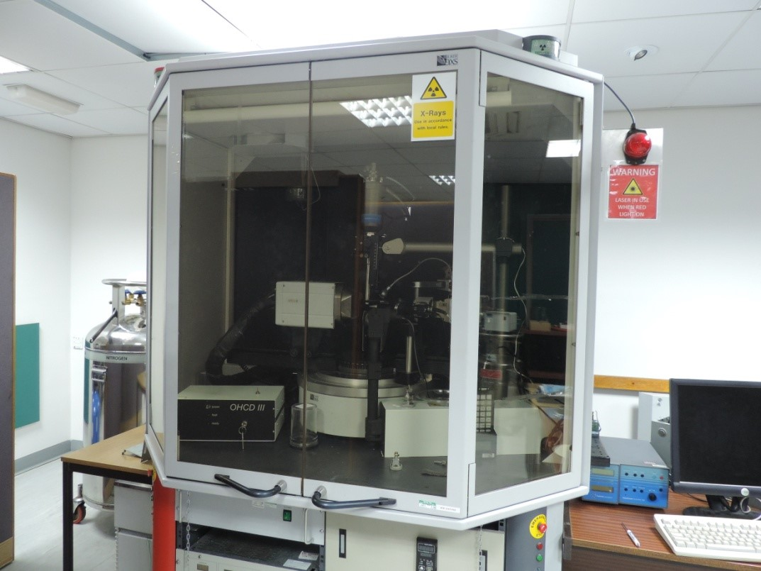 Bruker APEX II Mo sealed tube diffractometer with an APEX II CCD detector; Oxford Cryostream 700 for routine collection between 90 – 400 K; fitted with an OHCD IR laser for low melting compound study.