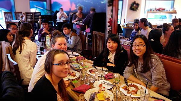 Christmas meal with international and home students