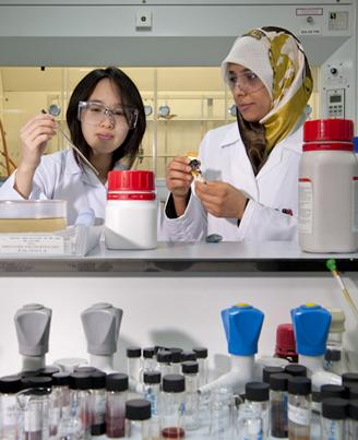 International students working in a  research laboratory