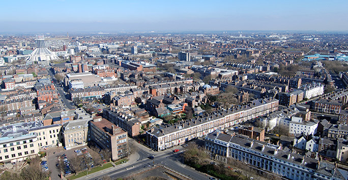 Aerial shot of Liverpool