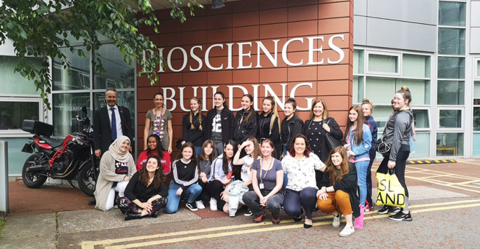 Group of girls from local school visiting the Biosciences building
