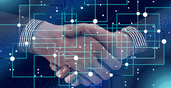 Handshake with blockchain abstract background