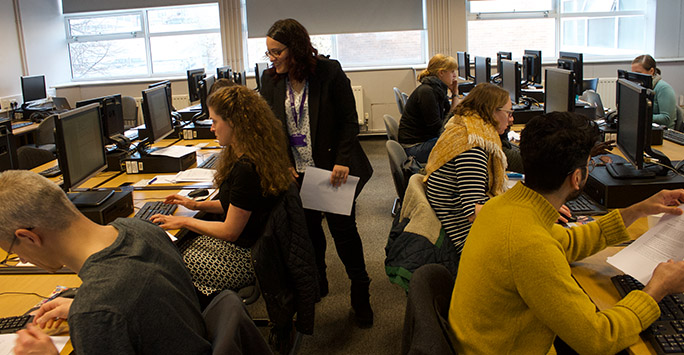 Workshop attendees at computers
