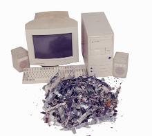 Computer being recycled