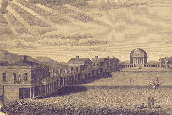 19th century engraving of University of Virginia by B. Tanner