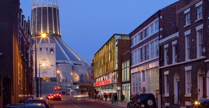 A picture of Liverpool Metropolitan Cathedral in the evening