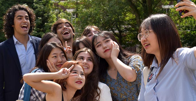 A group of students taking a selfie