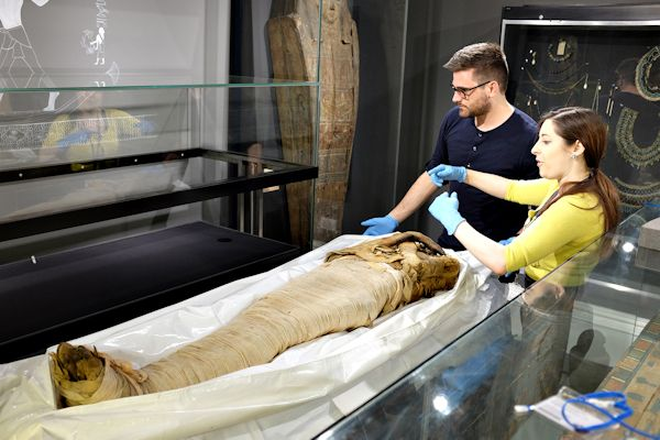 Two curators examining a mummy