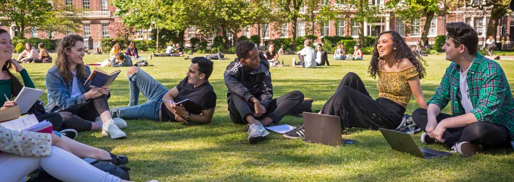 Students sitting in Abercromby Square