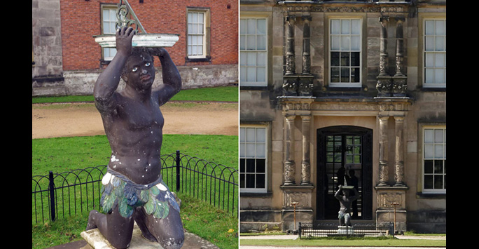 Photos of problematic statue previously located outside of Dunham Massey