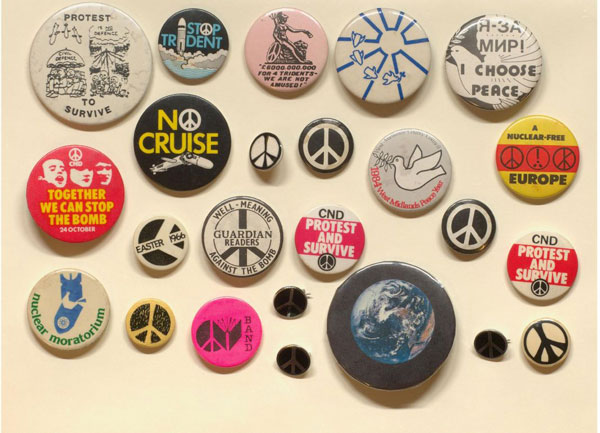 Colourful 'ban the bomb' pin badges