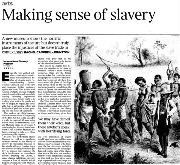 Newspaper article about the International Slavery Museum