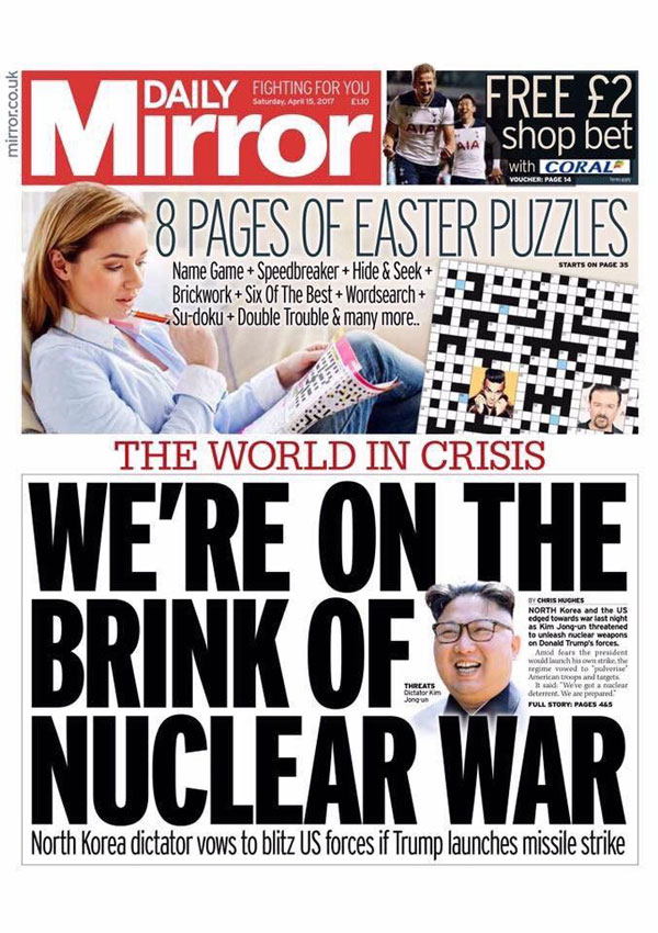 'We're on the brink of nuclear war' front page of the Mirror