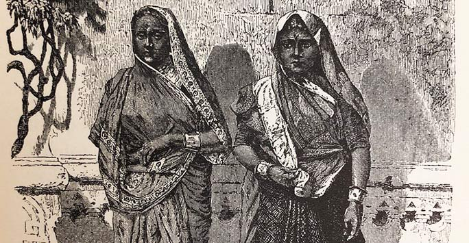 Illustration of two Indian women in the 19th century