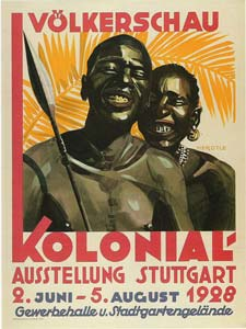 Poster advertising a human zoo at a colonial exhibition in Stuttgart in 1928
