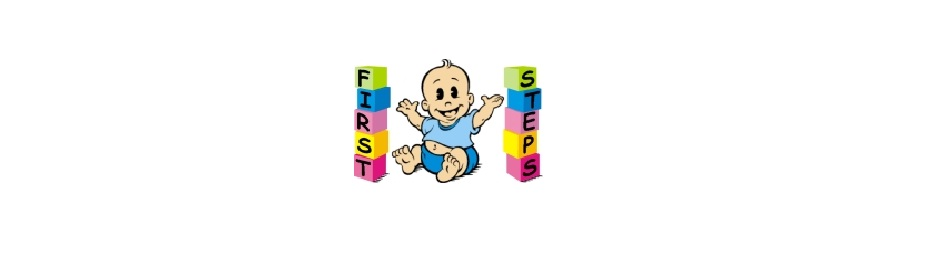 "First Steps Logo, baby surrounded by building blocks spelling out ""First Steps"""