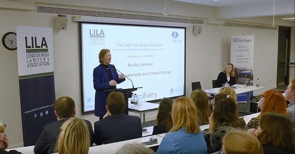 Mary Robinson giving a lecture