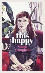 This Happy book cover (painting of a woman face on with brown hair in a blue top)