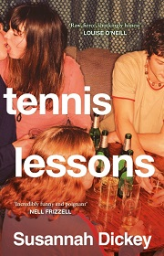 tennis lessons book cover image from a party, including a couple kissing and young people drinking