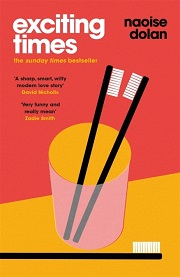 exciting times book cover red and orange drawing of two black toothbrushes in a glass