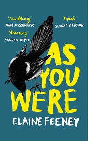 as you were book cover teal background with the book title in yellow writing with a magpie to the left of the title