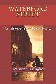 Waterford street 'a novel inspired by Irish events' dark red cover with a street scene