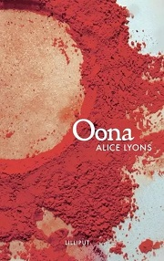 Oona by Alice Lyons - book title and authors name are aligned right and the main image is a circle of red dust
