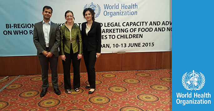 Nikhil Gokani, Amandine Garde and Mavluda Sattorova at the WHO.