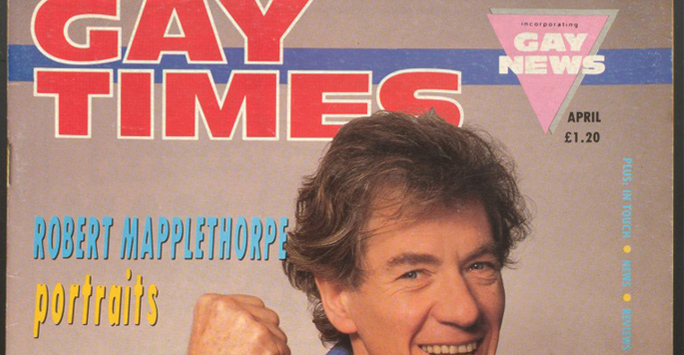 Ian McKellen on front cover of 1988 Gay Times magazine