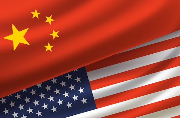 The flags of USA and China