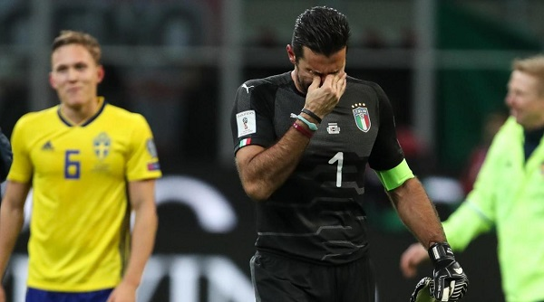 Buffon reacts after crashing out of World Cup qualifying.