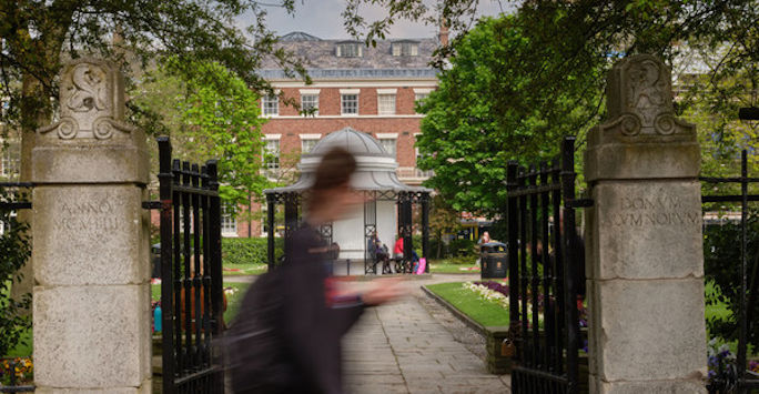 Student walking past Abercromby Square