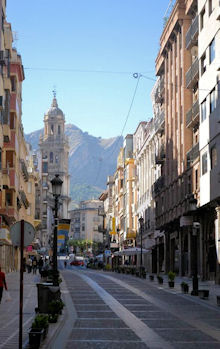 Jaen street and mountains, by Olivia