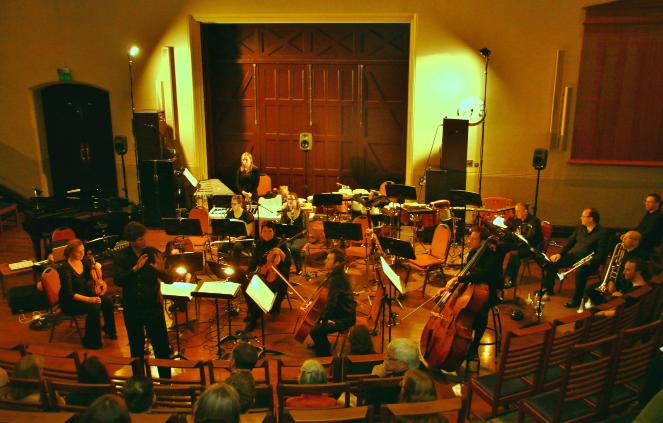 The Royal Liverpool Philharmonic Orchestra's Ensemble 10/10 performs a concert of music for ensemble and electronics at the Victoria Gallery and Museum.  Photo courtesy of LYK Production and Photography.