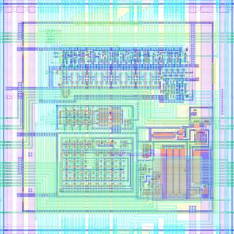 Layout of a 50 µm x 50 µm DMAPS pixel, the smallest pixel to date with all the readout circuitry embedded in the sensing area of the pixel, included in the RD50-MPW1 prototype and co-designed by Liverpool.