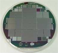 A silicon wafer with four large area pixel detectors
